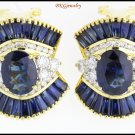 18K Yellow Gold Diamond Natural Blue Sapphire Earrings [E0041]