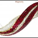 18K Yellow Gold Ruby Gemstone Brooch/Pin Jewelry Diamond [I_025]