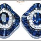 18K White Gold Unique Diamond Blue Sapphire Earrings [E0042]
