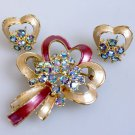 Pink Bow Brooch and Earring Set