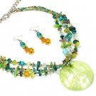 Green Murano Glass Necklace and Earring Set