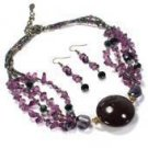Purple Ceramic Chip Bead Necklace Set