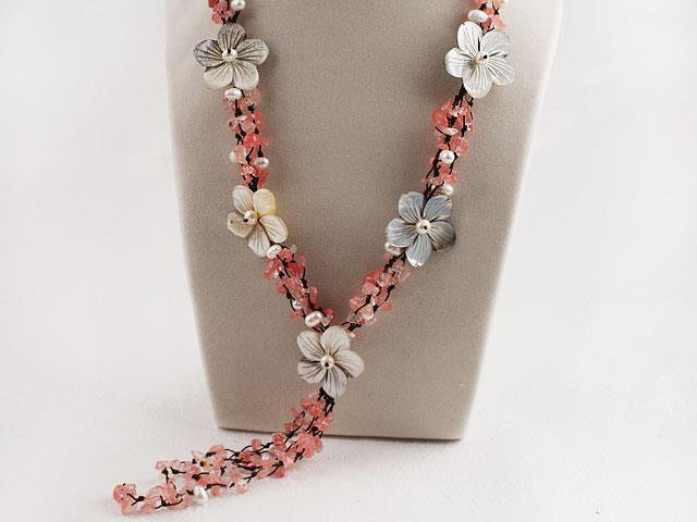 White Pearl Cherry Quartze Necklace