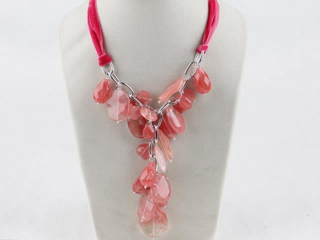 Cherry Quartze Ribbon Necklace