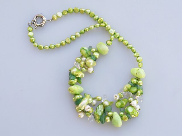 Pearl Crystal Necklace with moonlight clasp