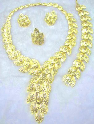 Gold Feather Jewelry Necklace, Earring, Bracelet, and Ring Set