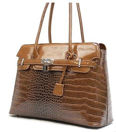 Tan Glazed Croco Bag