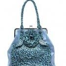 Blue Flower Leopard Print Handbag