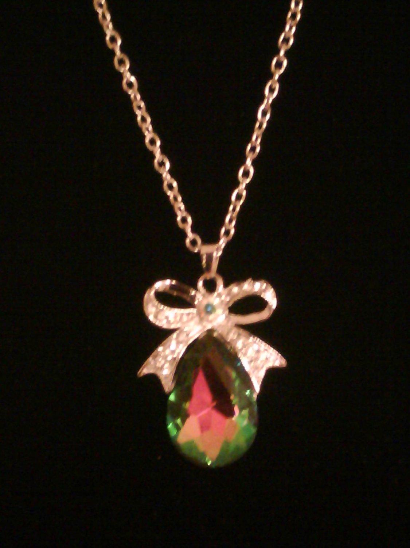 Rainbow Tear Drop Chain Necklace