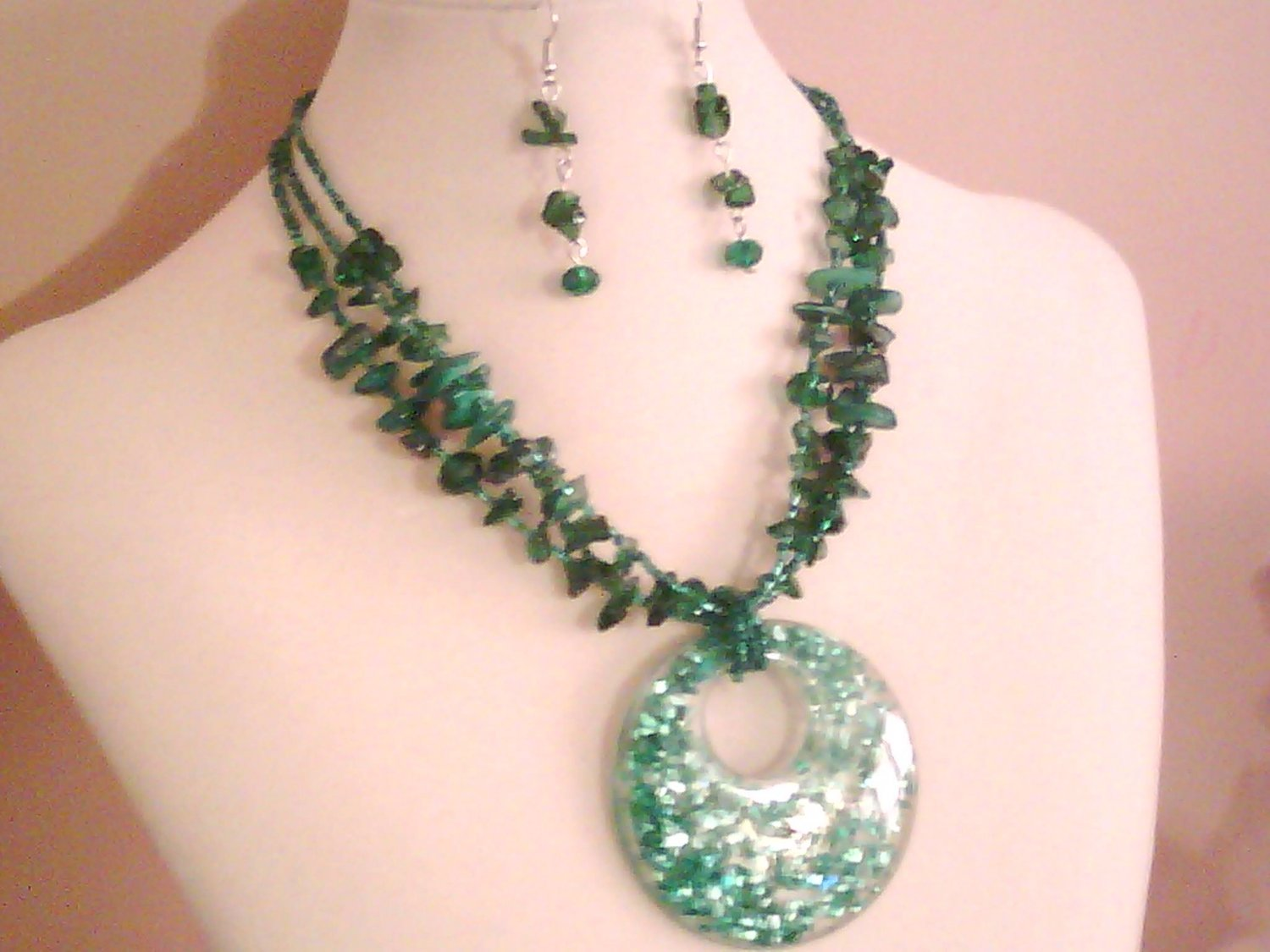 Turquoise Murano Glass Necklace Set