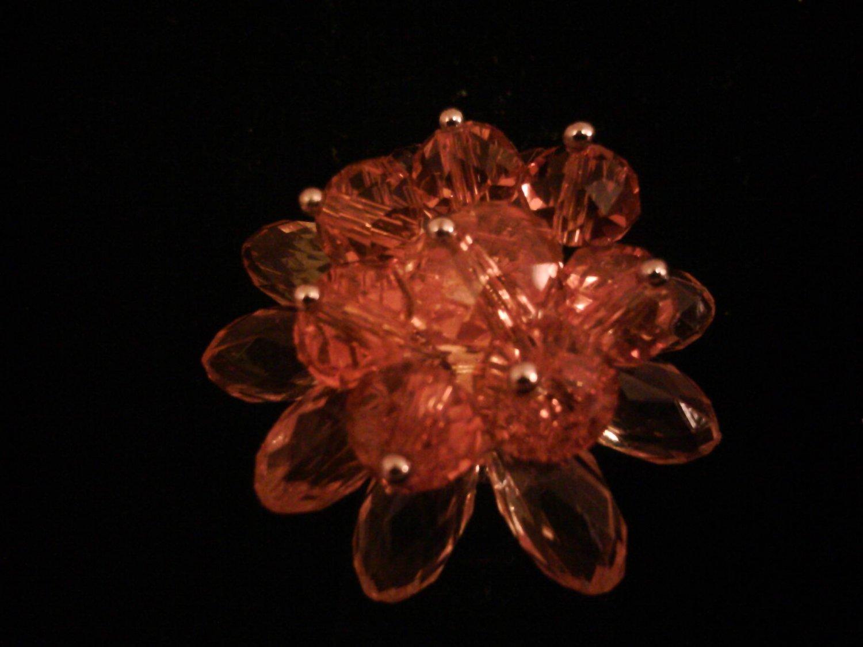 Orange Glass Flower Fashion Ring