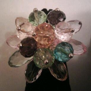 Multi-colored Glass Flower Fashion Ring
