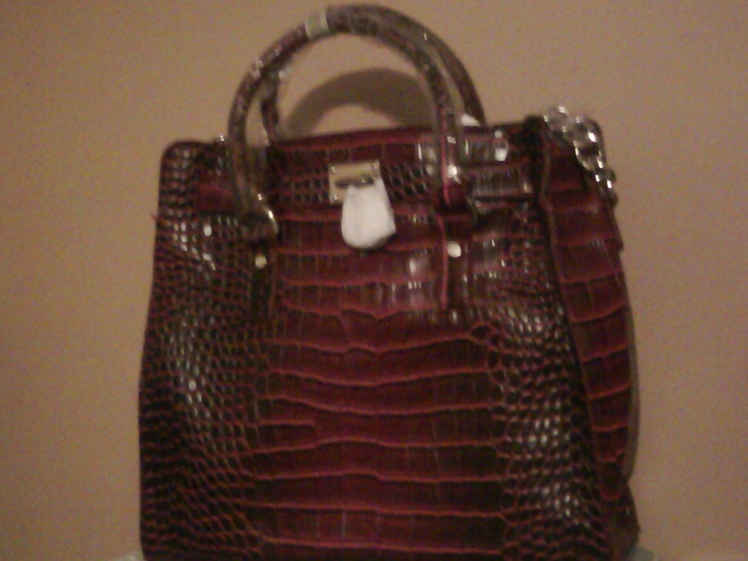 Red Croco Locket Handbag