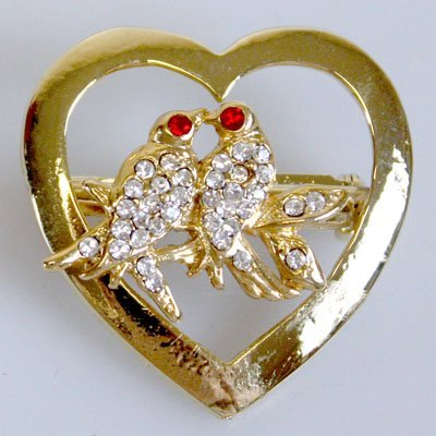 Golden Lover Birds Heart Brooch