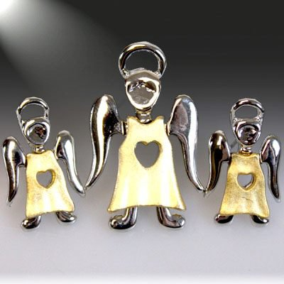 Gold Heart Angel Brooch and Earring Set