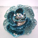 Dazzling Blue Flower Stretch Ring
