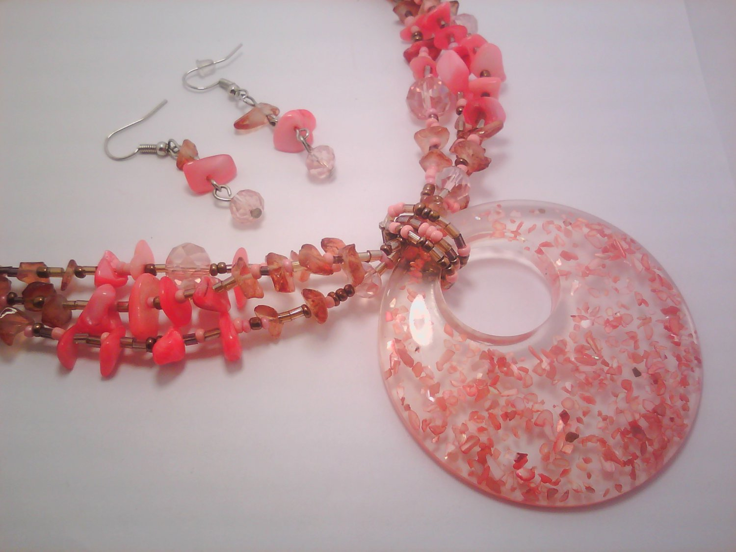 Orange Murano Glass Necklace and Earring Set