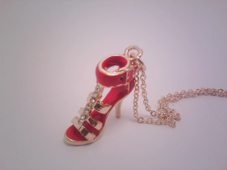 Mini Red Fashion Pump Pendant Necklace