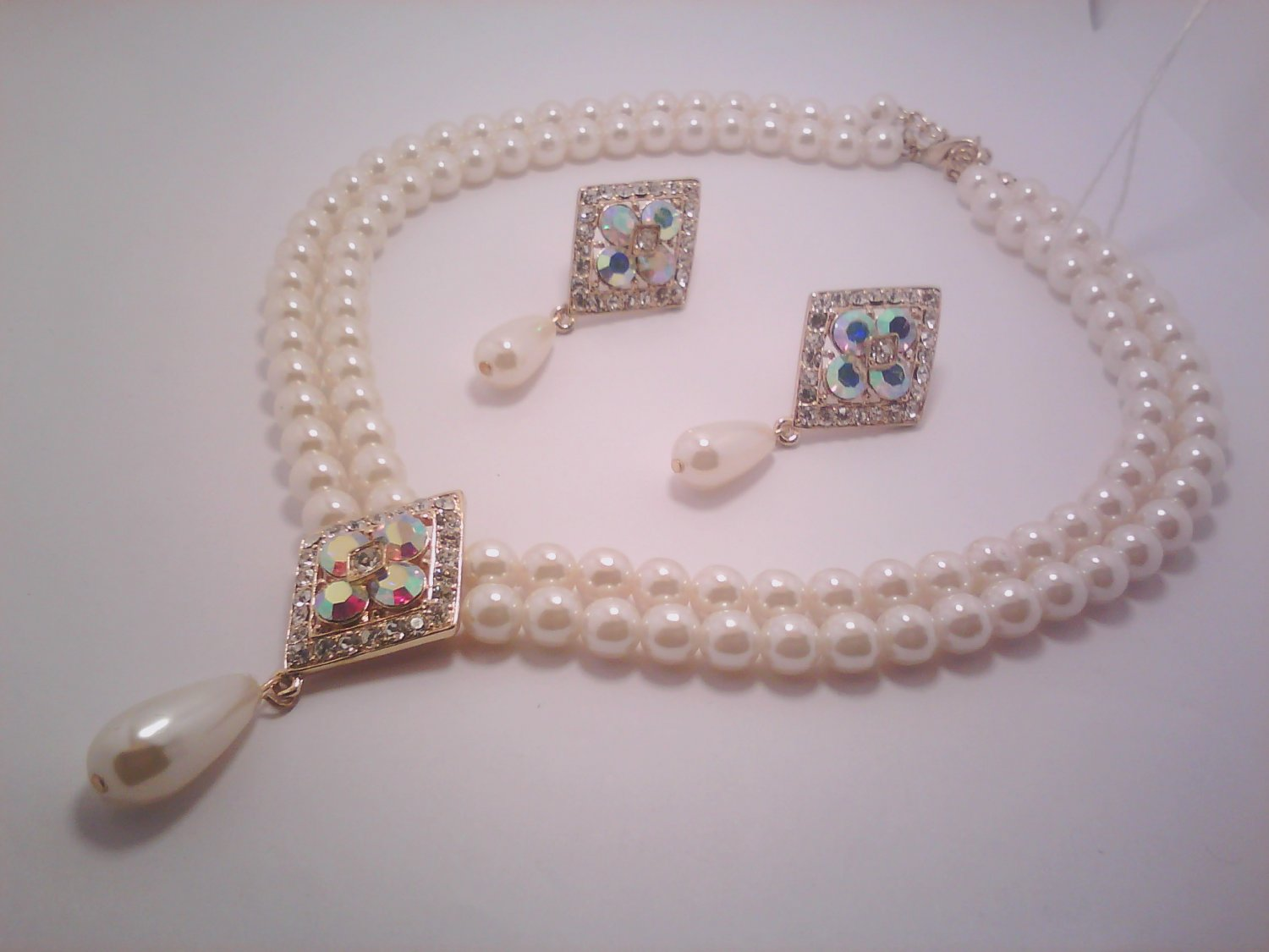 Beige Evening Necklace and Earring Set