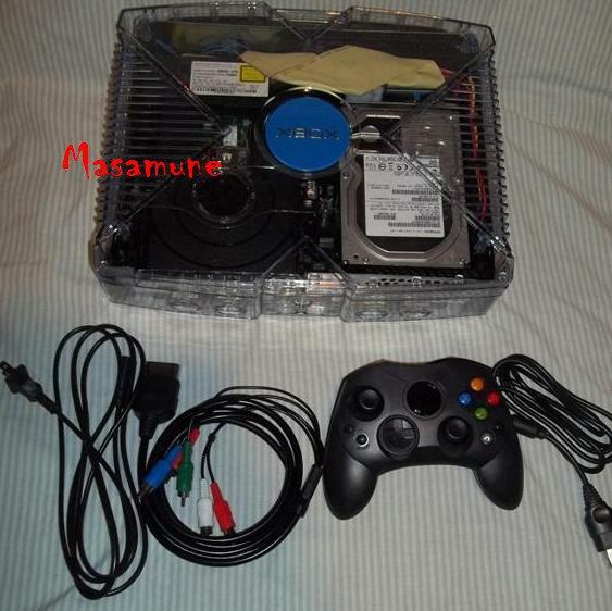 2tb Original Xbox System Custom Clear GhostCase with Blue LEDS