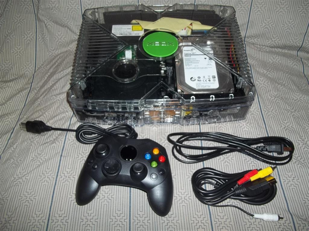 2tb Original Xbox System Custom Clear GhostCase with Blue LEDS