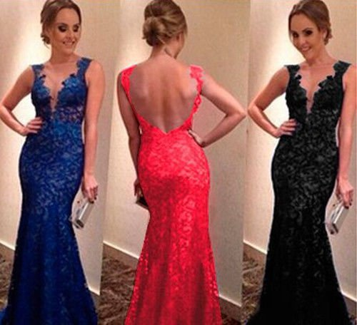 New Lady Long Evening Ball Prom Gown Formal Bridesmaid Cocktail Party Lace Dress