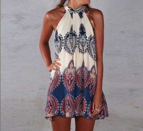 Ladies Summer Sleeveless Party Evening Cocktail Short Mini Dress Top AU 6-12