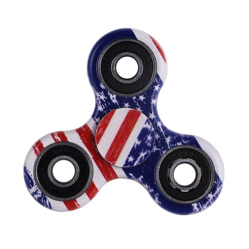 Tri-Spinner Fidget Toy Ceramic Hand Finger Focus USA Flag Paint Red White Blue