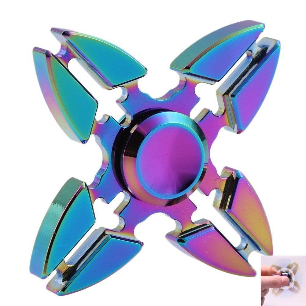 Rainbow 4 Crab Legs Aluminum Tri-Spinner Hand Spinner Fidget Desk Focus Toy EDC
