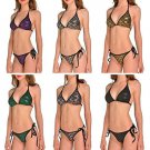 New  Fashion Women Bikini Digital Printing Green Zombies Set Swimsuit Beachwear