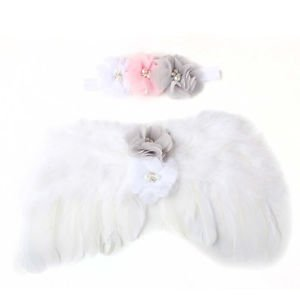 Newborn Baby Photo Props Flower Headband Fairy Glitter Angel Wings Sets