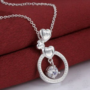 Fashion Elegant 925 Sterling Silver Jewelry Womens Chain Pendant Necklace Gift 1