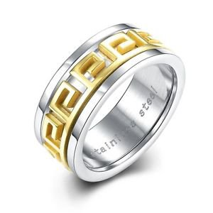 New Engraving Gold-plated Inlay Yellow Men's Ring Christmas Gift Fits Size 7-10