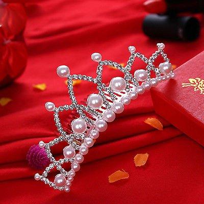 Elegant Imitation Pearl Rhinestone inlay Crown Tiara Wedding Bride Hair Comb