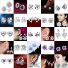 New Women Fashion Elegant Crystal Rhinestone Butterfly Ear Stud Earrings Earring
