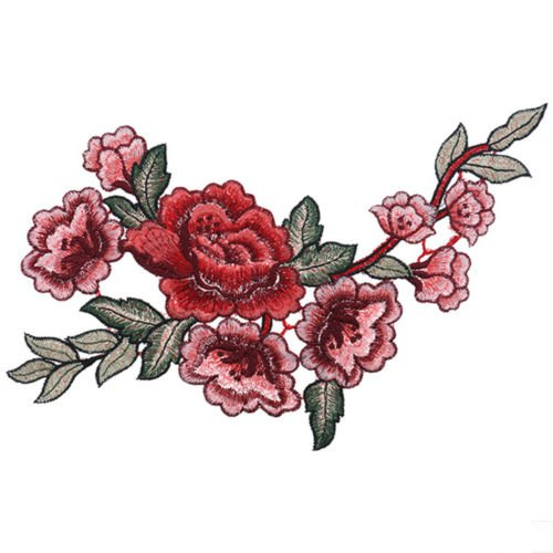 Rose Flower Patch Iron on Sew Fabric Sticker Embroidered Appliques DIY Craft New