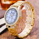 2017 New Fashion Creative Bright  Gold PU Leather Quartz Business Wrist Watch