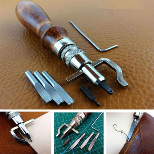 New Leather Tent Canvas Sewing Awl Hand Stitcher Taper Leathercraft + 3 Needle