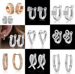 New Women 925 Sterling Silver Plated Fashion Hoop Dangle Earring Studs Jewelry