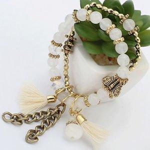 New Multilayer Women Fashion Charm Butterfly Bead Bracelet Jewelry Tassel Bangle