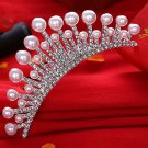 Wedding Bridal Princess Crystal Hair Comb Accessory Tiara Pearl Crown Silver