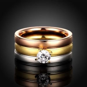 Fashion Women 18KGP 3-In-1 Titanium Stainless Steel Tri Color CZ Party Band Ring