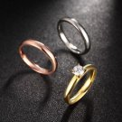NEW Women 18KGP 3-In-1 Titanium Stainless Steel Tri Color CZ Plain Wedding Ring