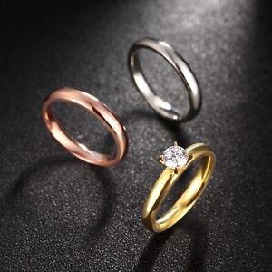 NEW Women 18KGP 3-In-1 Titanium Stainless Steel Tri Color CZ Plain Wedding Ring