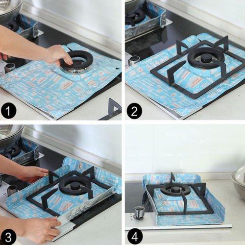 Reusable Aluminum Foil Gas Stove Burner Protector Cover Mat Pad Perfect Kitchen