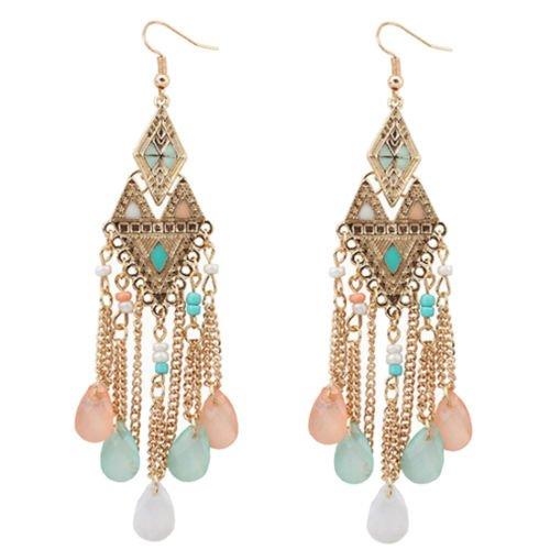 Beauty Long Chain Drop Earrings Rhinestone Dangle Beads Stud Earring for Party