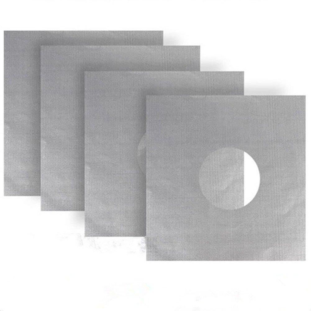 2Pcs Aluminum Gas Foil Stove Burner Protector Cover Liner Clean Mat Pad Reusable
