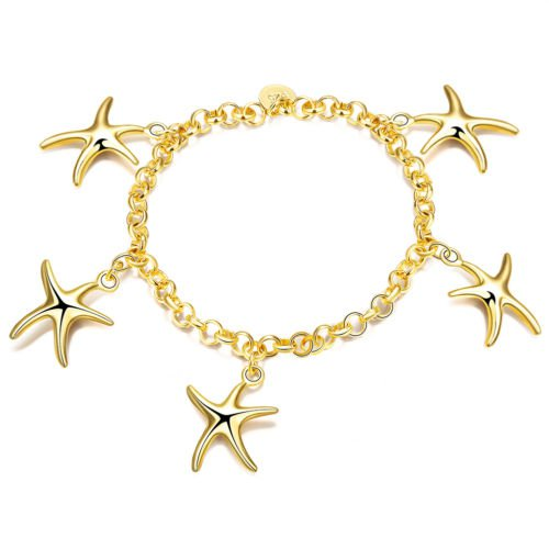 2017 NEW Simple Elegant Planting Gold Heart Pendant  Bracelet For Women Girls