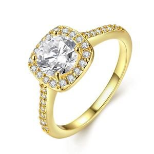 Fashion Gold Plated Ring Crystal Diamond Wedding Engagement Jewelry For Women