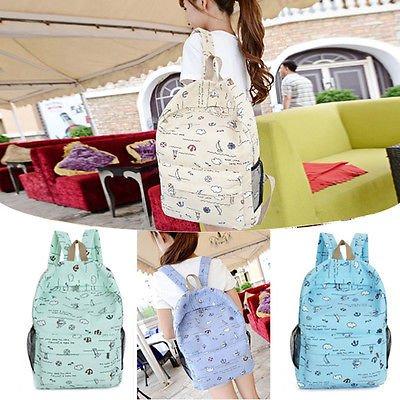 Cute Women Girls Eiffel Tower Bag Schoolbag Bookbag Canvas Travel Backpack